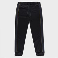 - Constructed from soft-touch loopback cotton, these sweatpants are cut for a modern, tapered silhouette with contrasting pieced khaki and navy side stripes. * Exposed drawstring waistband * On-seam front pockets * Single rear pocket * Ribbed cuf Mens Athletic Pants, Cotton Sweatpants, Joggers, Contrast, Trousers, Stripes, Stylish, Aw17, Black
