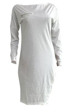 Roaso Casual Zipper design Asymmetrical T-shirt M White Blazer Dress, Jumpsuit Dress, White Casual, Casual Tops, Purple And Gold Dress, Wholesale Clothing, White Bodysuit, Hot Dress, Beauty