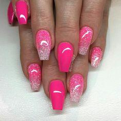 """Neon Pink"" med glitterombre  neonrose Diamond"