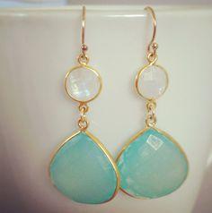 Bezel Set Aqua Chalcedony and Moonstone Earrings beach by AinaKai