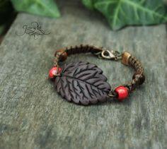 Blown leaf macrame bracelet  fairy bracelet  by GloriosaArt