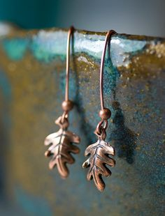Antiqued Copper Oak Leaf Earrings Dangle Ear Wires by mossandmist,