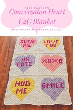Conversation Heart Corner to Corner Blanket Finishing Graph Crochet, C2c Crochet, Crochet Quilt, Crochet Blocks, Tapestry Crochet, Crochet Squares, Crochet Afghans, Crochet Blankets, Chrochet