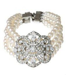 Pearl and Vintage Deco Crystal Bracelet by Ben Amun | Thomas Laine 1920s jewelry, jazz age jewelry, art deco jewelry, Great Gatsby jewelry, Thomas Laine.