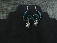 Emerald and teal Spiral Beaded Turtle Earrings  by PirateKatsBooty
