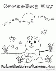 Groundhog Day Coloring Page | School - Groundhog Day | Pinterest ...