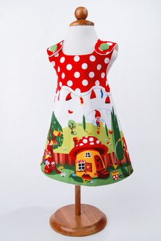 Gnomes and Dots Baby/Toddler Pinafore Dress by Lottekin on Etsy, $28.00