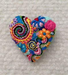 Freeform embroidery heart brooch  Brooch #155 by Lucismiles on Etsy
