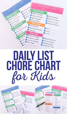 Diy Crafts : Illustration Description The perfect chore chart for older kids. Daily List Chore Chart for Kids keeps them on task and gives them motivation get everything done. Crafting is just…Fun! Chore Charts For Older Kids, Teen Chore Chart, Daily Chore Charts, Chores For Kids By Age, Printable Chore Chart, Charts For Kids, Free Printable, Chore Schedule, Kids Schedule