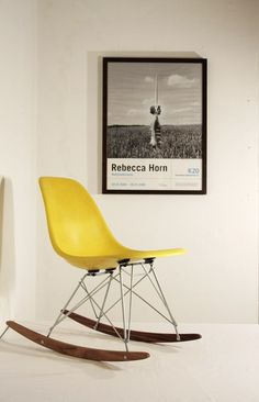 yellow rocker / black and white art