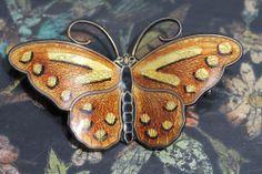 Norwegian Hroar Prydz 925S Sterling Silver Guilloche Enamel Butterfly Brooch