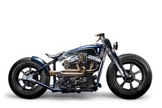 The Graphite Speedster uses the shop's own frame with a modified 1584cc Harley engine, Rough Crafts' own swingarm and fork, and Roland Sands Design Diesel wheels.