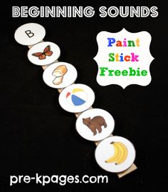 Beginning Sounds Velcro Paint Stick Activity Freebie. Work on phonemic awareness Preschool Letters, Learning Letters, Kindergarten Literacy, Early Literacy, Preschool Learning, Beginning Sounds Kindergarten, Teaching Boys, Preschool Curriculum, Preschool Lessons