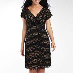 Beaded Mesh V-Neck Dress-Petite Sizes - jcpenney