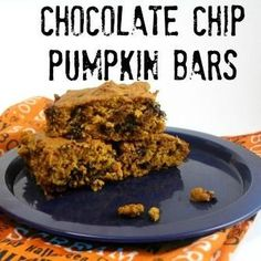 ... Chocolate Chip Pumpkin Bars are a great choice. Pumpkin and chocolate