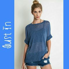 Indigo Cuffed Top Indigo cuffed tee Tops Tees - Short Sleeve