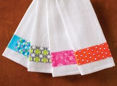 Embellished Kitchen Towels - could easily do these with Brandy on her sewing machine