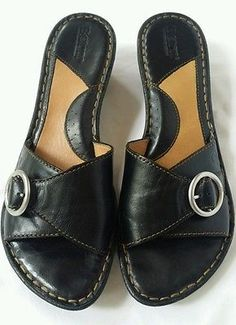 5e65333387fc BORN GEMALA B95226 Leather Slip Ons Platform Sandals Buckle Size 8 ...