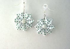 Origami Earrings White with Green Polka Dot by PaperImaginations