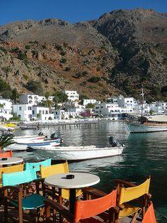Picturesque village of Loutro, Crete Island / Greece (by Paloma de Arequipa). Creta Greece, Crete Island Greece, Greece Islands, Mykonos Greece, Athens Greece, Santorini, Beautiful Places To Visit, Cool Places To Visit, Beautiful World