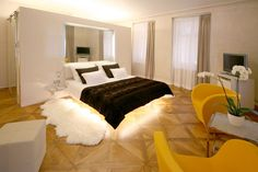 The luxurious 5 star boutique hotel Three Storks is located in the quiet environment of the Mala Strana (Lesser Town) under the magnificent Prague Castle; Best Hotels In Prague, Best Boutique Hotels, Prague Czech Republic, Prague Castle, Luxurious Bedrooms, Storks, Prague Accommodation, Luxury, Furniture