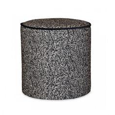 Taburet rotund alb/negru din poliester si lemn 35 cm Gabriel Bakako Opjet Paris Amazon Echo