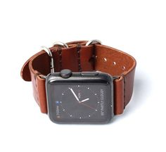 Apple Watch Band Strap Whiskey Brown Polished by ArrowandBoard