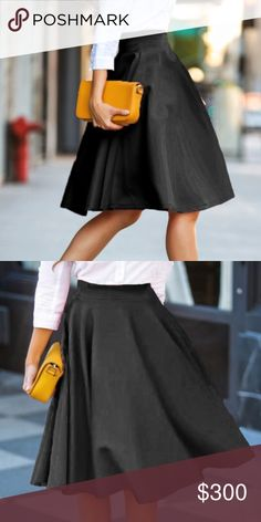 "...coming soon BLACK FLARE MIDI SKIRT Must have staple. Wear this from weddings, cocktail parties, dinner, dates, work -you name it! Waist 24.5"" Length 22.5"" Polyester. -No trades 51twenty Skirts Midi"