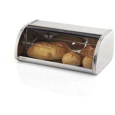 Crate & Barrel Brabantia Roll-Top Bread Box (225 SAR) ❤ liked on Polyvore featuring home, kitchen & dining, food storage containers, bread box, bread bin, roll top bread box, crate and barrel and roll top bread bin