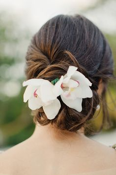 bridal updo wedding hairstyle with flowers