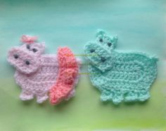 Two crochet hippo applique nursery wall hanging nursery