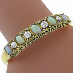 Antique Cabochon Oval Opal 2.00ct Old MIne & Rose Cut Diamond 14k Yellow Gold Bangle - See more at: http://www.newyorkestatejewelry.com/bracelets/victorian-opal-2.00ct-diamond-gold-bangle/24554/6/item#sthash.oSR2JHRp.dpuf
