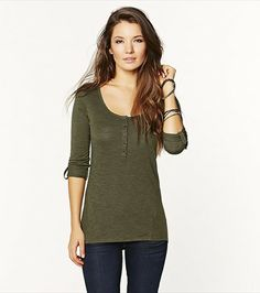 You'll love this versatile military green henley shirt! I own this in 5 colours but not this green Can't Buy Me Love, Henleys, Henley Shirts, Military Green, Spring 2014, Style Me, Autumn Fashion, Tunic Tops, Colours
