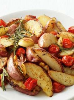 Low FODMAP Recipe and Gluten Free Recipe - Roasted potato with basil & tomatoes http://www.ibssano.com/low_fodmap_recipe_roastedpotato_basil_tomato.html
