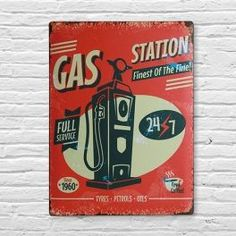 Cartel de Chapa Gas Station 30 x 40 cm