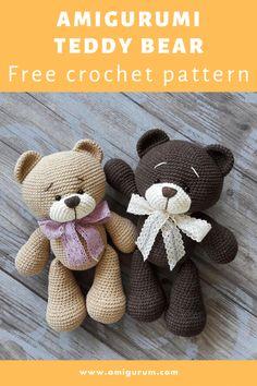 Crochet Teddy Bear Pattern Free, Teddy Bear Patterns Free, Crochet Pig, Christmas Crochet Patterns, Crochet Animal Patterns, Crochet Patterns Amigurumi, Crochet Bracelet Pattern, Bears, Crafts