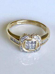 Vintage 14k Gold & Diamond Invisible Set Ring14k Princess Cut