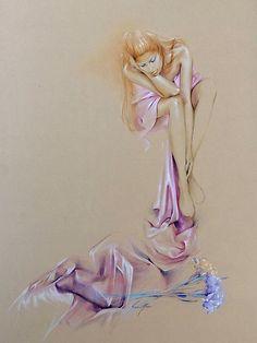 """Satin Cascade"" Pastel Pencil Artwork by Sara Moon"