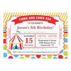 """Fiesta de cumpleaños del boleto del circo invitación 5"""" x 7"""""""