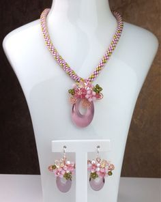 Jewelry vintage inspire floral design kumihimo necklace antique pink flower pendant and dangle earrings by PastelGems on Etsy https://www.etsy.com/listing/161964555/jewelry-vintage-inspire-floral-design