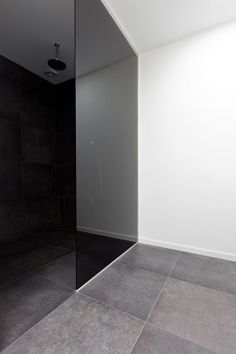 Minimalist modern bathroom with walk in shower with tinted glass