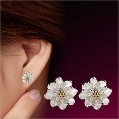 Gold Flower 925 Silver Earrings Ear Stud Women Fashion Jewelry Gift
