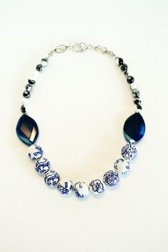 Chunky Blue and White Stone Statement Necklace by by DebbieRenee, $49.00