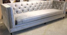 Faux Silk Velvet Gray Tufted Sofa - Nail head trimming. Bench seating. Oversized. Gorgeous!