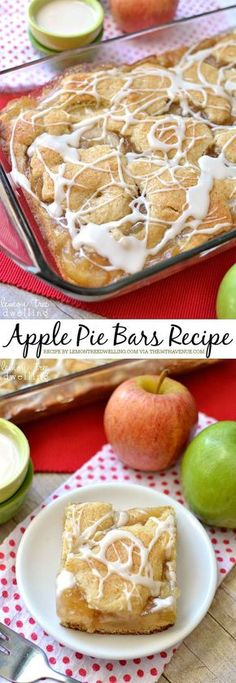 Cake Recipes : Apple Pie Dessert Bars - easy, delicious, and perfect desserts for fall! Love the fact that these apples have very little crust