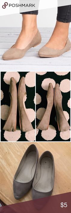 Pointy toe flats Preloved. In pretty good condition, except for the bending at the toe. They're still very wearable and perfect for the Fall season! They pair great with skinny jeans! True to size. They do accommodate a wide foot. (I have a wide foot). Color is like a grayish taupe. Shoes Flats & Loafers