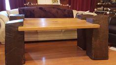 rustic heavy wood coffee table