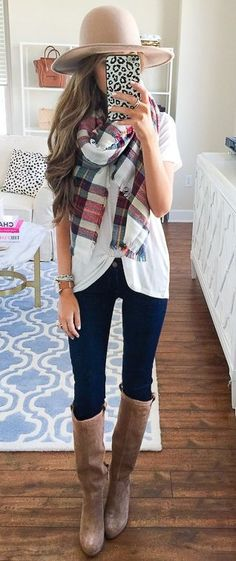 #thanksgiving #outfits Beige Hat // Plaid Scarf // Skiny Jeans // Leather Booties // White Top