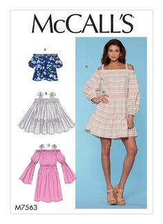 M7563 Very loose fitting pullover top, tunic and dresses have elastic at neckline, sleeve and length variations. Spring 2017