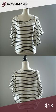 Batwing  Navy Blue/ Cream Striped Sheer Top Excellent condition. 100% polyester. Fast shipping. No trades. Thank you for shopping my closet! XOXO Forever 21 Tops